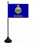 Kansas Desk / Table Flag with plastic stand and base.
